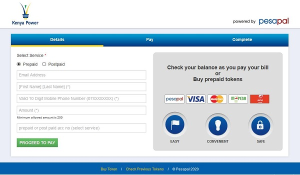 Pay for KPLC tokens online using Pesapal Portal