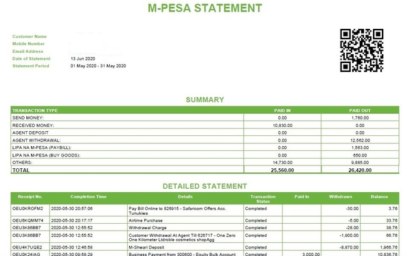 MPesa full statement