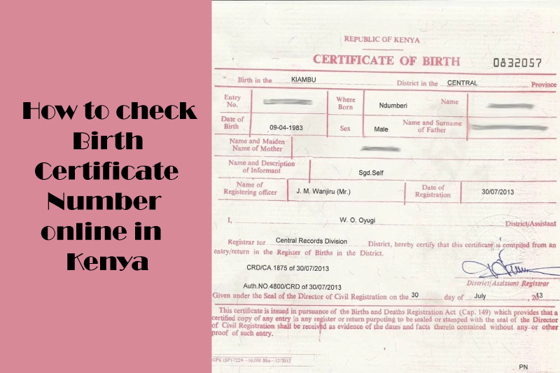 Check birth certificate number online