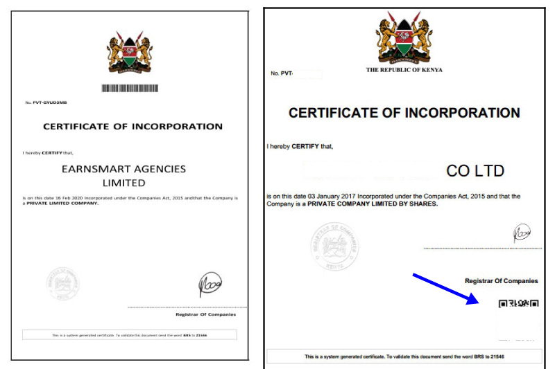 EarnSmart certificate of registration