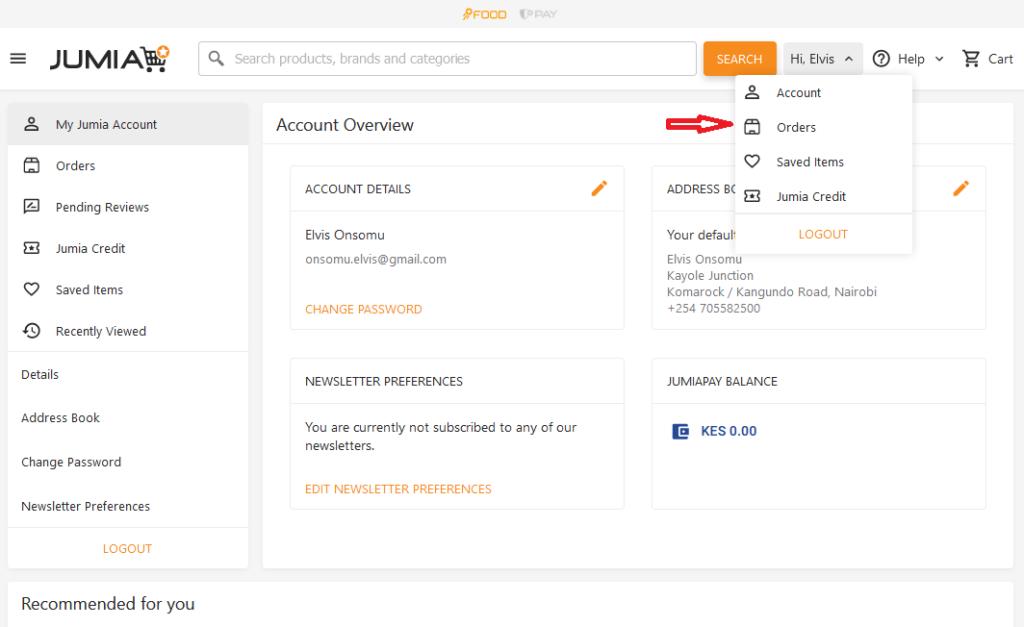 Step 2: go to Jumia orders